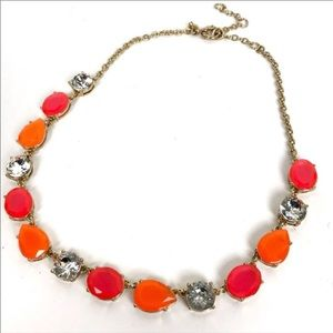 J Crew / Statement Necklace - Orange & Pink